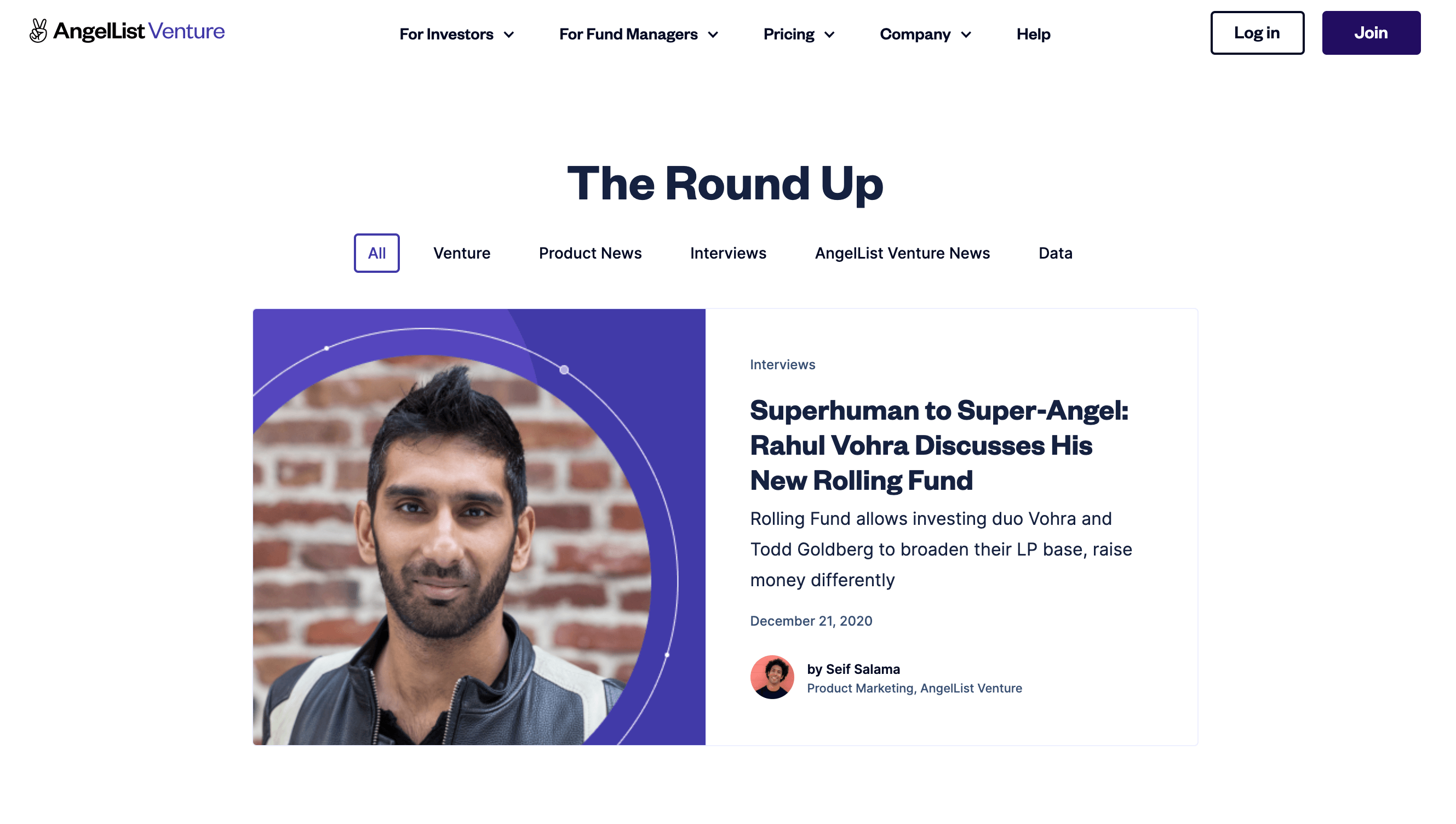"""AngelList Venture website screenshot of the blog section with title of """"The Round Up"""""""