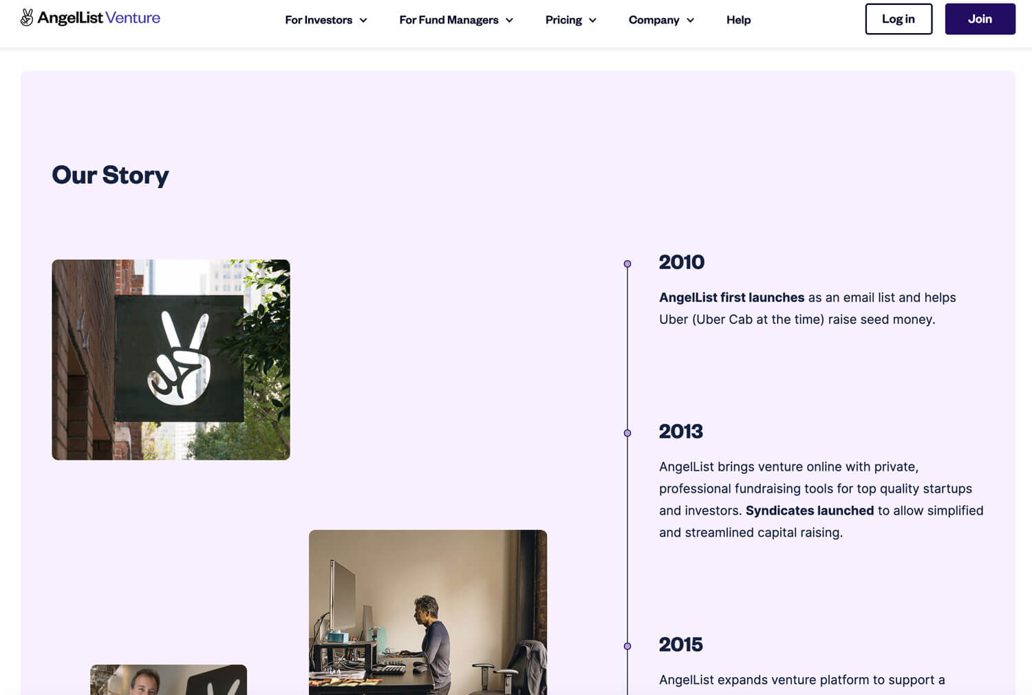 """AngelList Venture Website Screenshot of """"Our Store"""" page showing a light purple background with a vertical timeline starting with descriptions at 2010, then 2013 and 2015."""