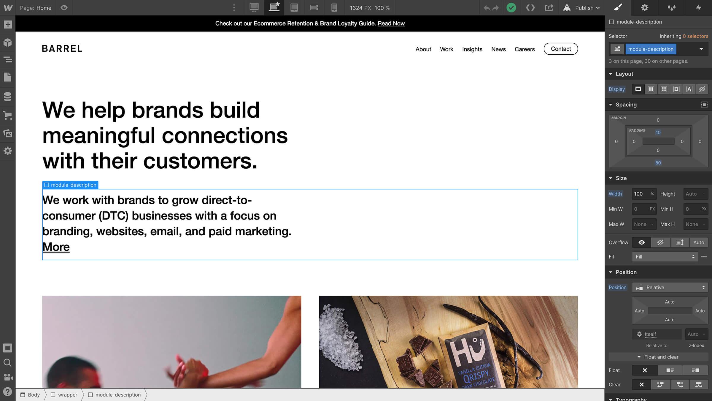 Barrel's website is made in Webflow