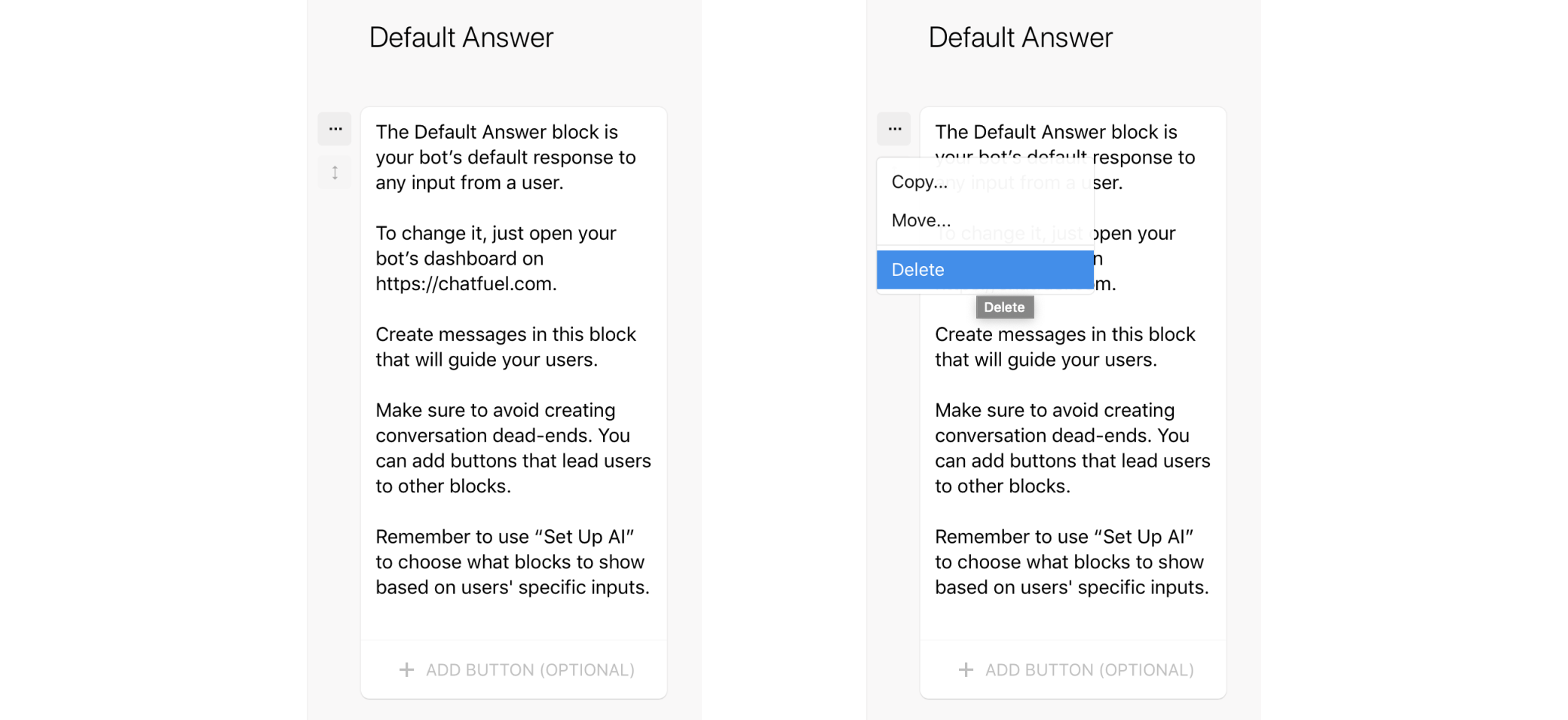 Delete the default answer for bot