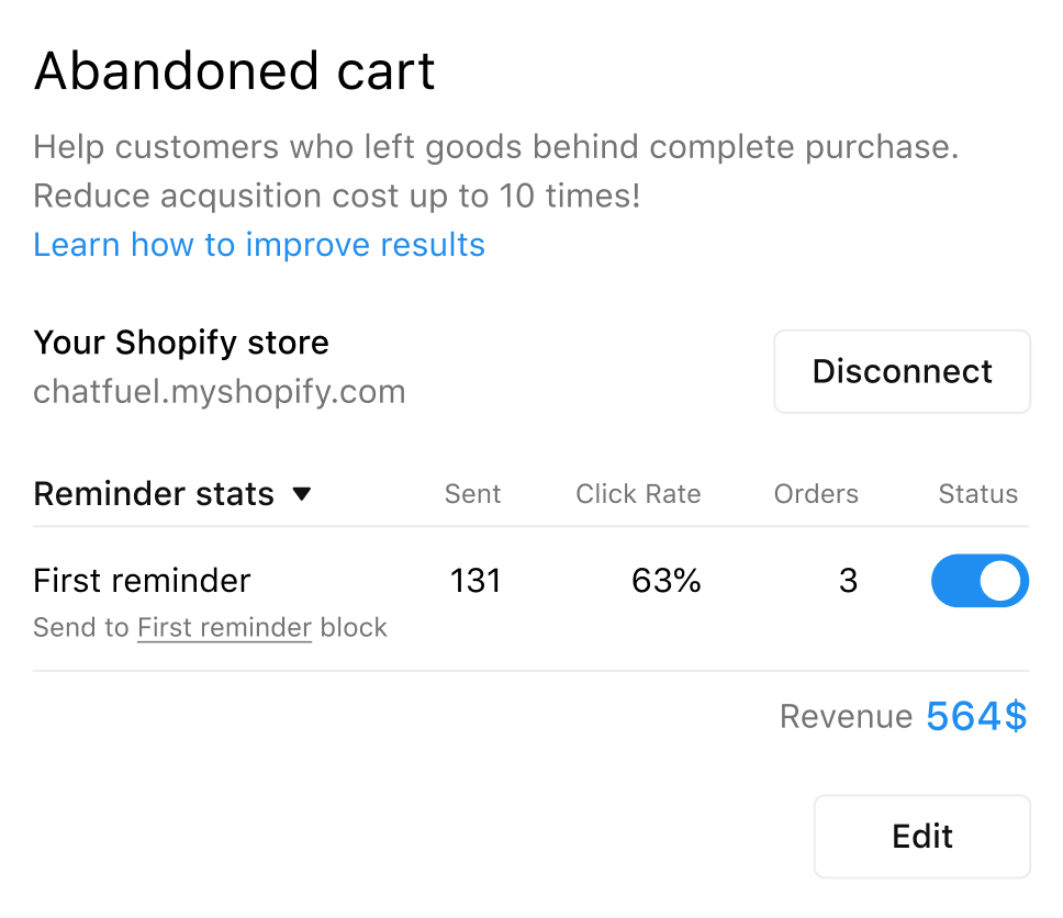 Chatfuel's Cart Reminders tool