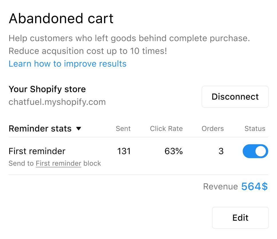 Chatfuel's Cart Reminders tool