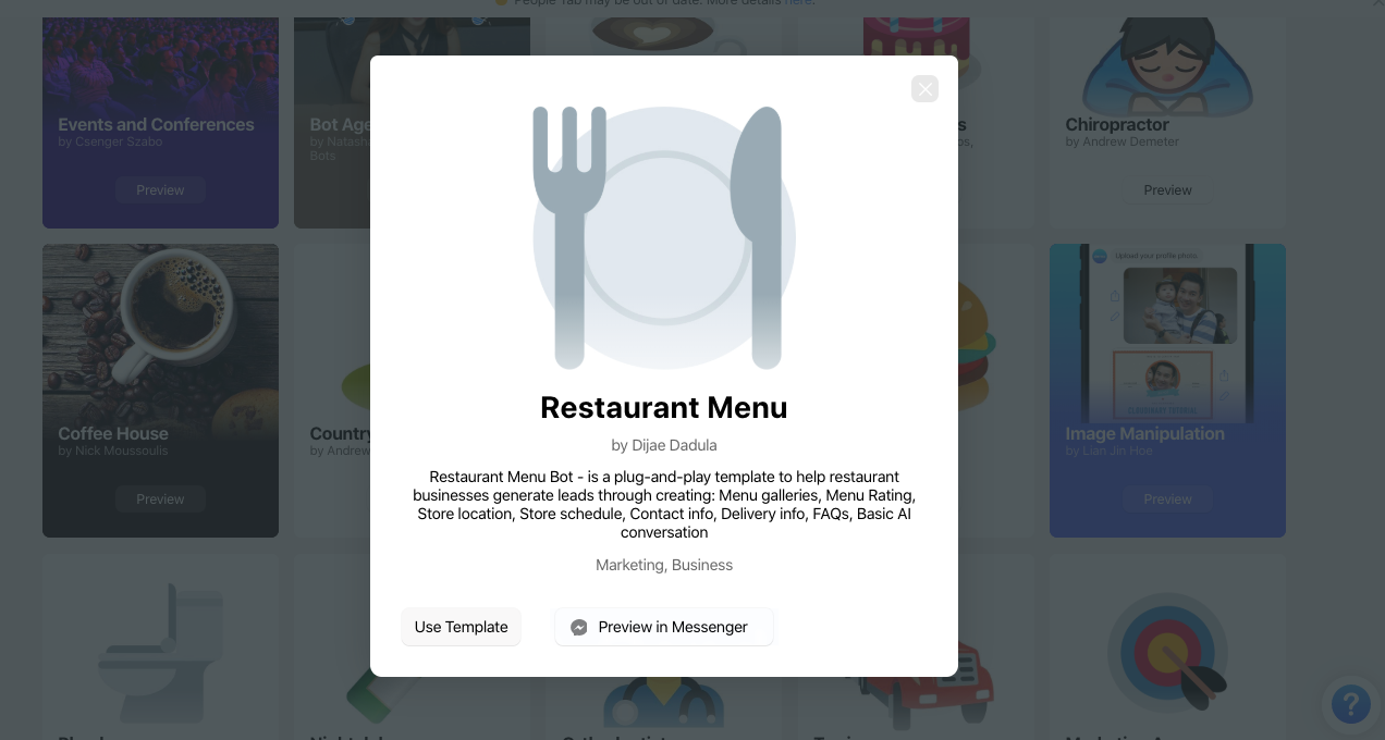 Chatfuel template for restaurant chatbot