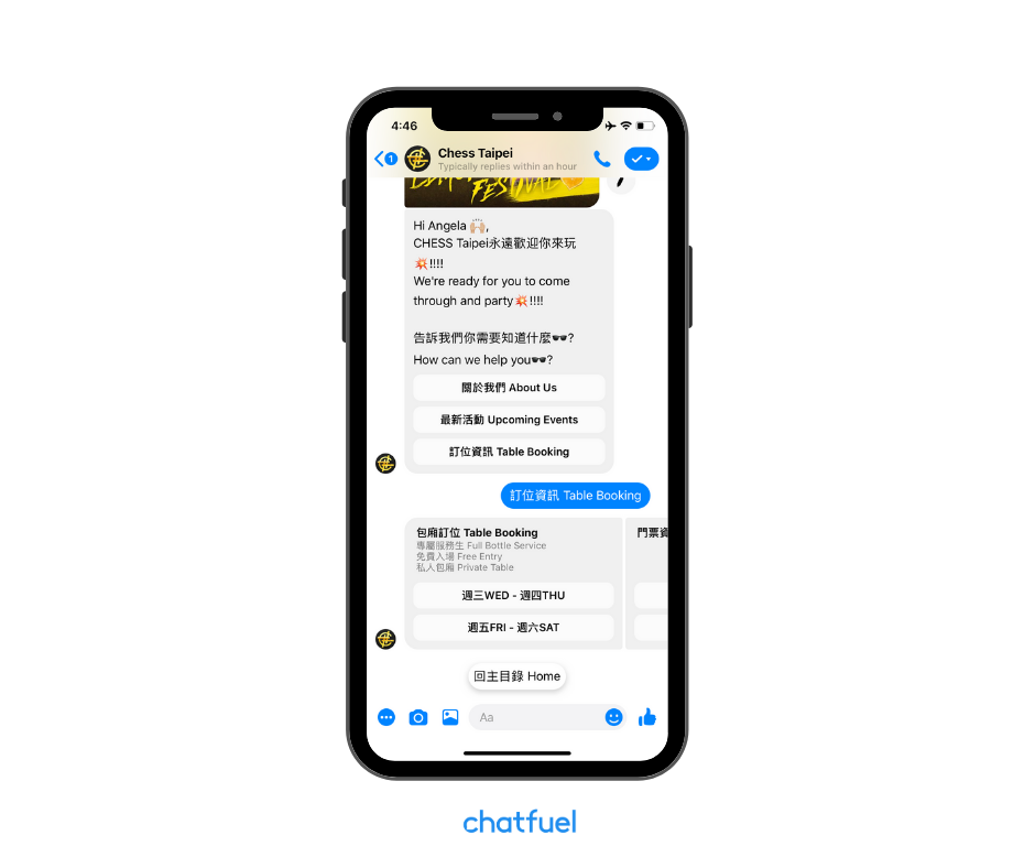 Restaurant bot powered by Chatfuel