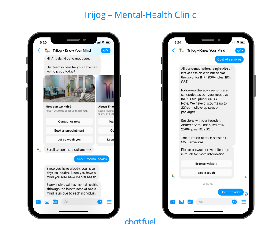 Mental-health clinic chatbot example