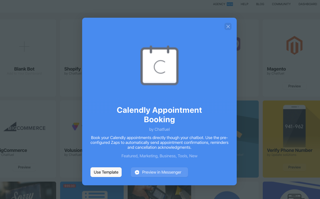 Calendly chatbot template