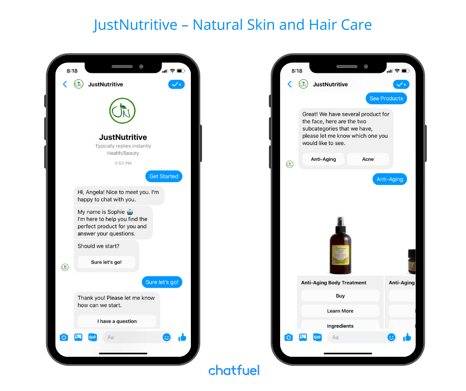 chatbpt for ecommerce store for all-natural hair/skin products