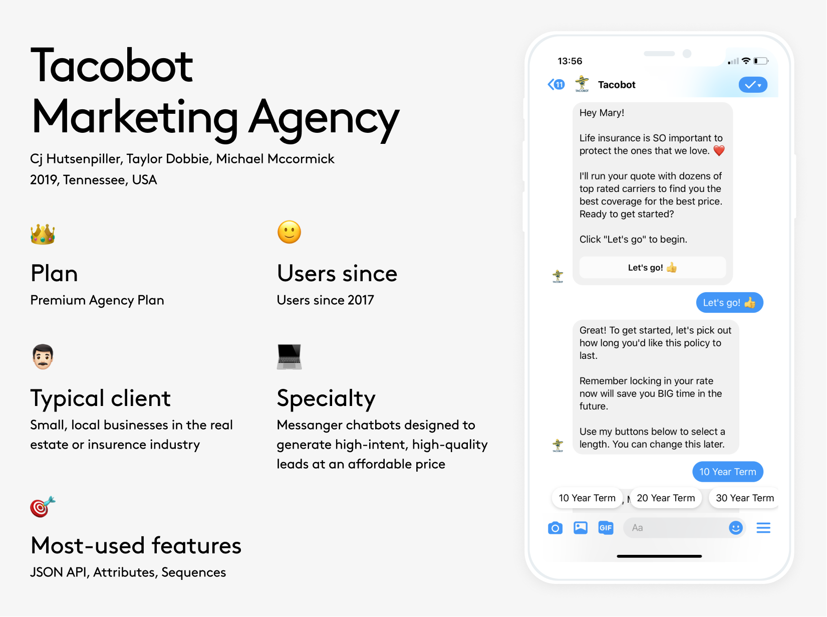 Tacobot Marketing agency powered by Chatfuel