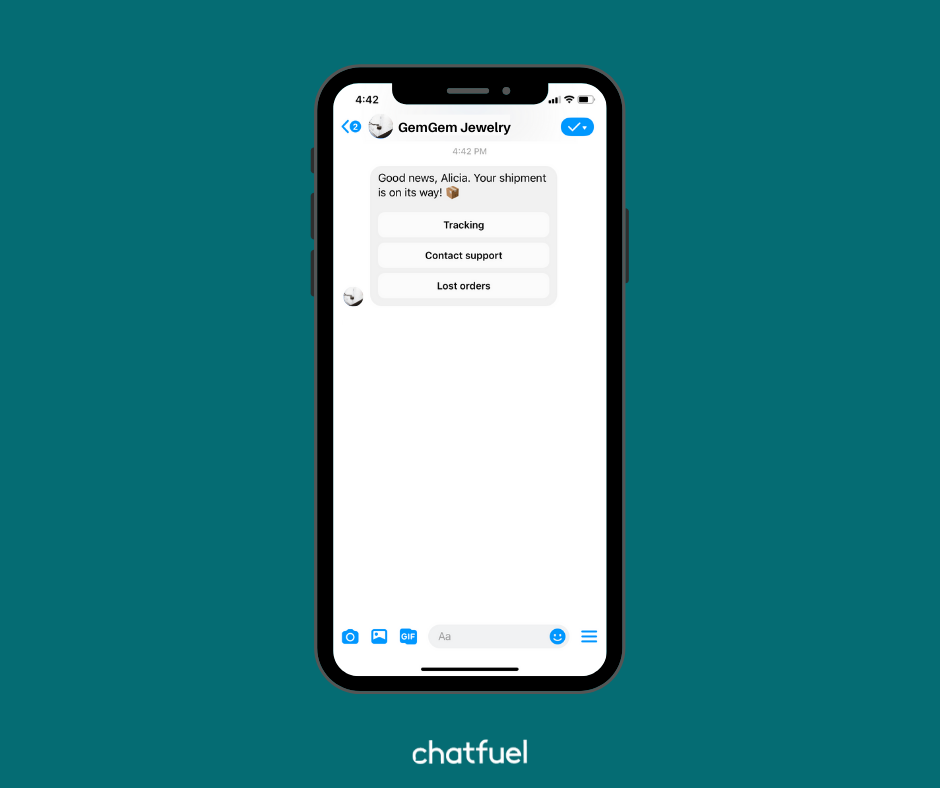 link your Chatfuel bot to your store on Shopify