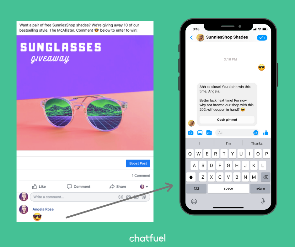 Your chatbot can automatically reply to post comments