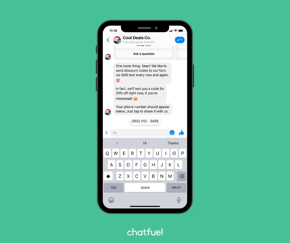 Thu thập số điện thoại hoặc email của người dùng trong bot của bạn