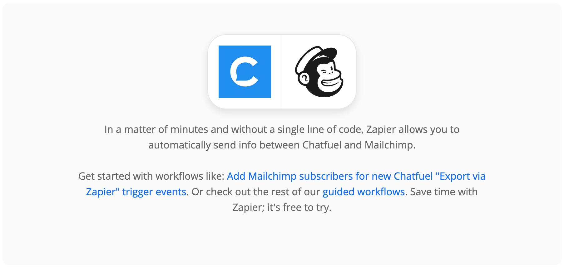 chatfuel mailchimp