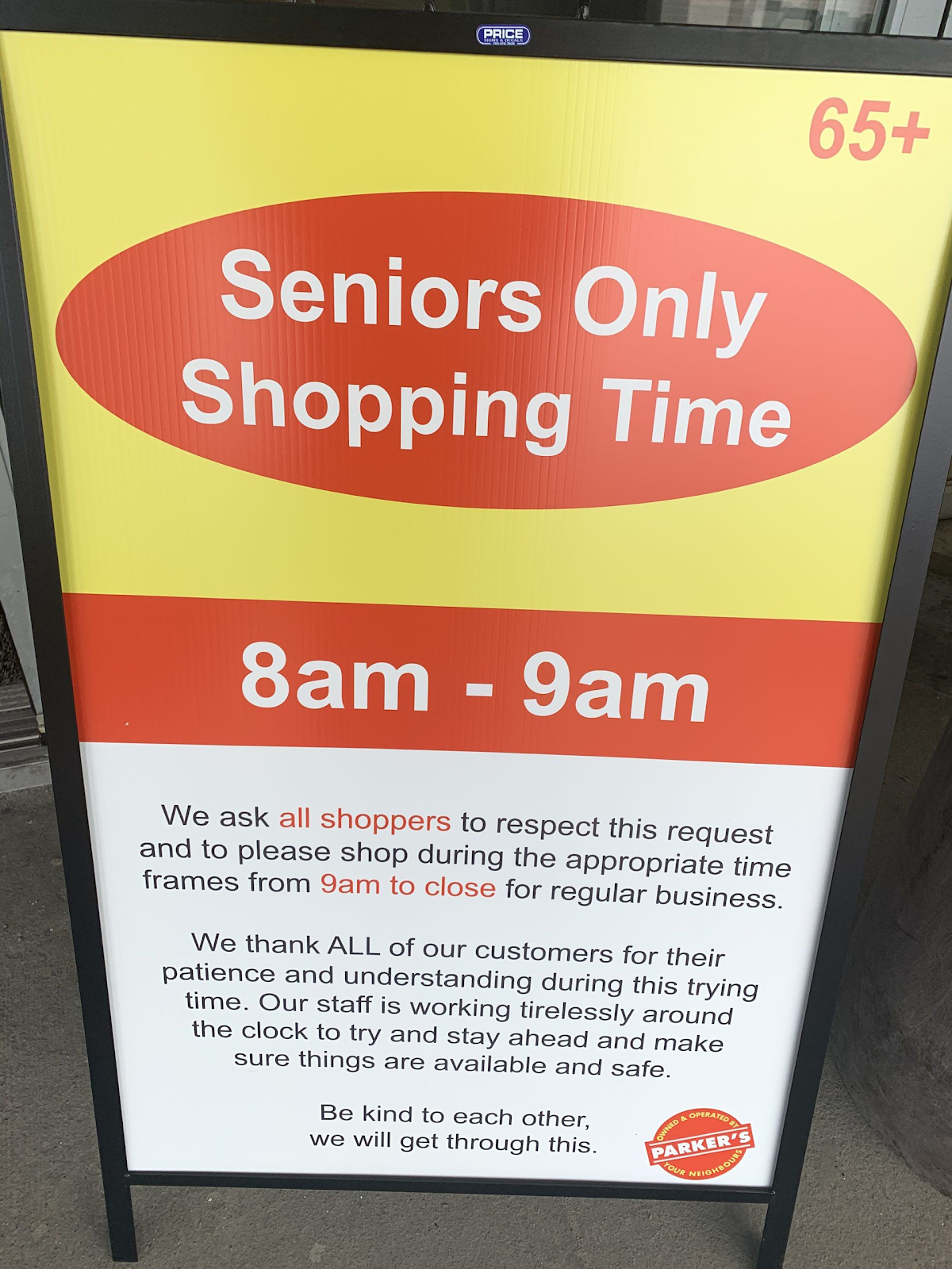 Grocery store sign for seniors only shopping time