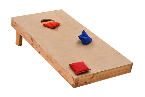 Photo of a cornhole board with bean bags on it