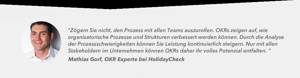 Zitat Mathias Gorf über OKRs bei HolidayCheck