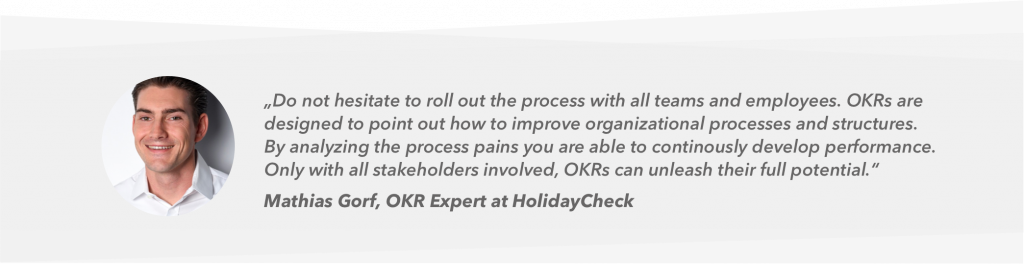 Quote of Mathias Gorf about OKR at HolidayCheck