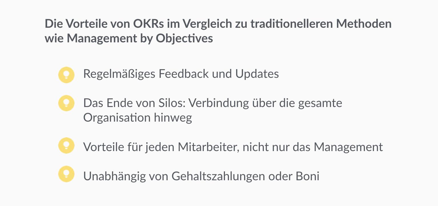 Vorteile von OKR gegenüber anderen Management-Methoden