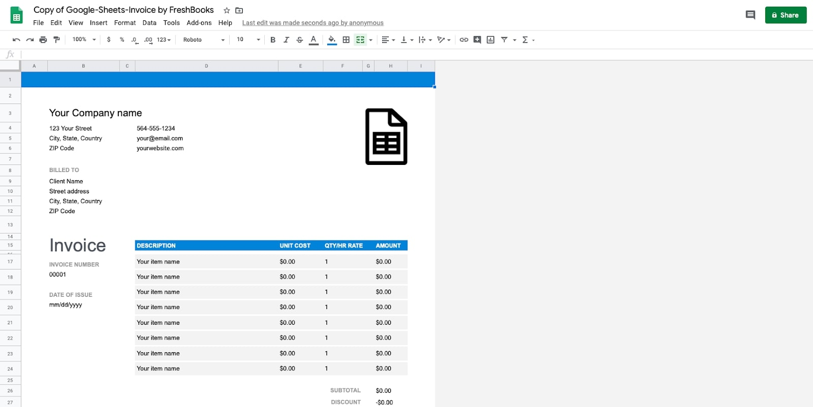 Google Sheets Invoice Template