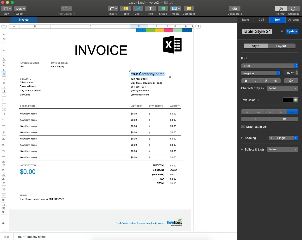 MS Office Excel Invoice Template
