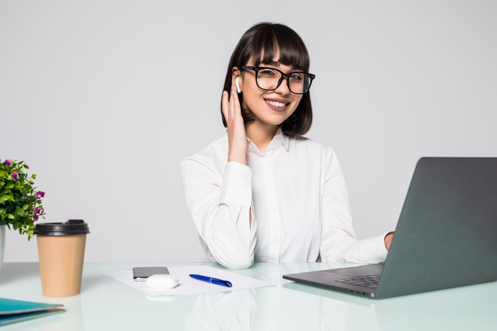 Female Virtual Secretary on a Phone Call