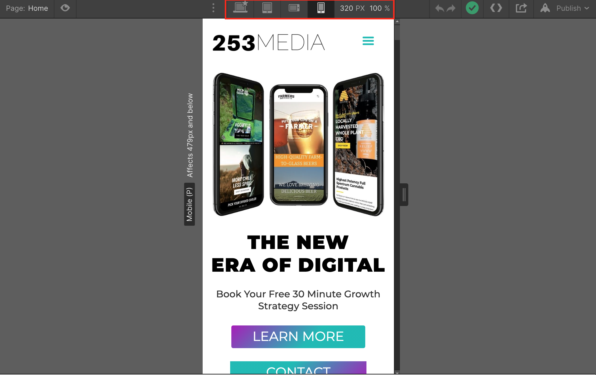 Screenshot of Webflow's designer, highlighting the different screen sizes for mobile and desktop