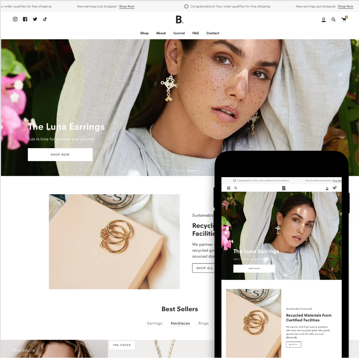 Desktop and mobile previews of the Broadcast Shopify theme
