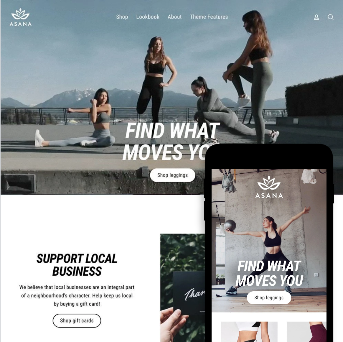 Desktop and mobile previews of the Streamline Shopify theme
