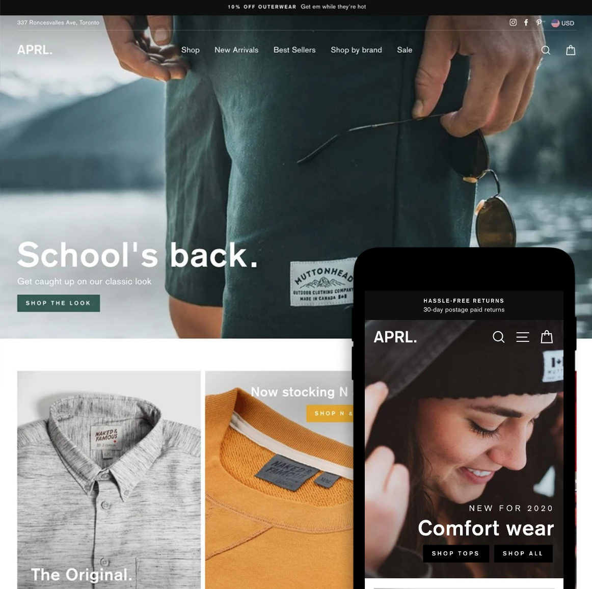 Desktop and mobile previews for the Impulse Shopify theme