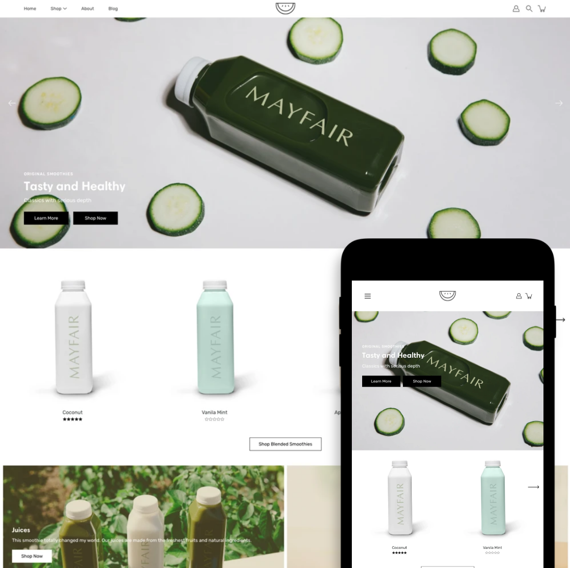 Desktop and mobile previews of the Modular Shopify store theme