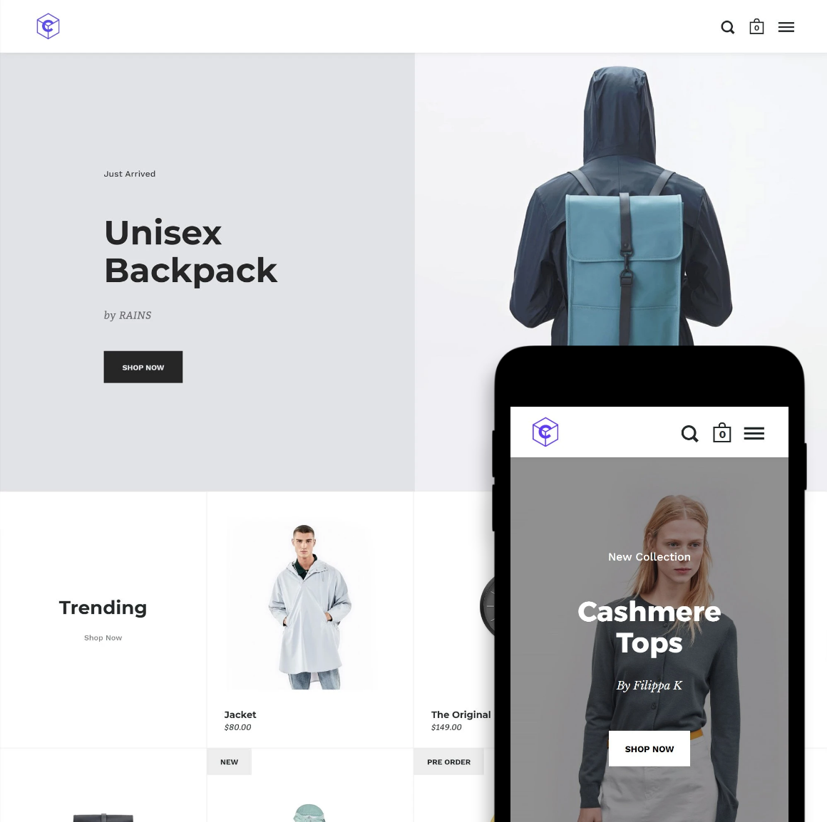 Desktop and mobile previews of the Split Shopify store theme