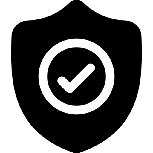 icon graphic of shield image with checkmark in middle in black