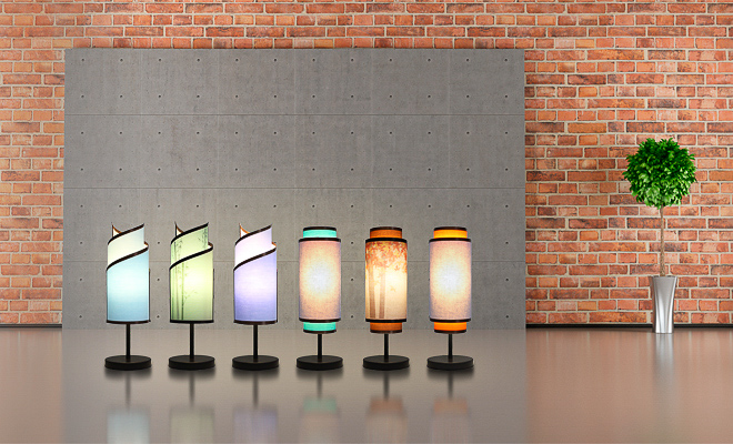 Interchangeable table lamp with colorful shades