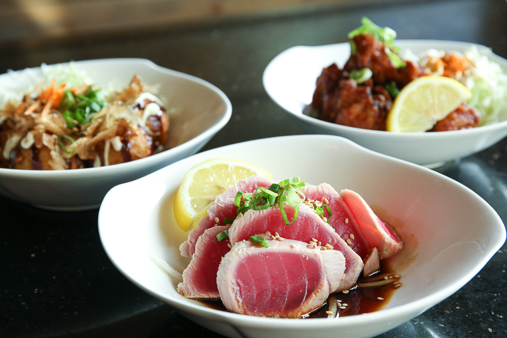 Japanese tapas with seared tuna and wings