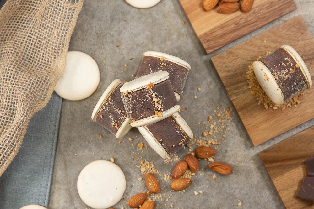 Chocolate toasted almond Mavens Creamery macaron ice cream sandwich