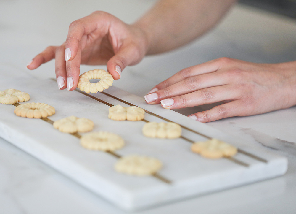 Shortbread cookies on a marble serving platter
