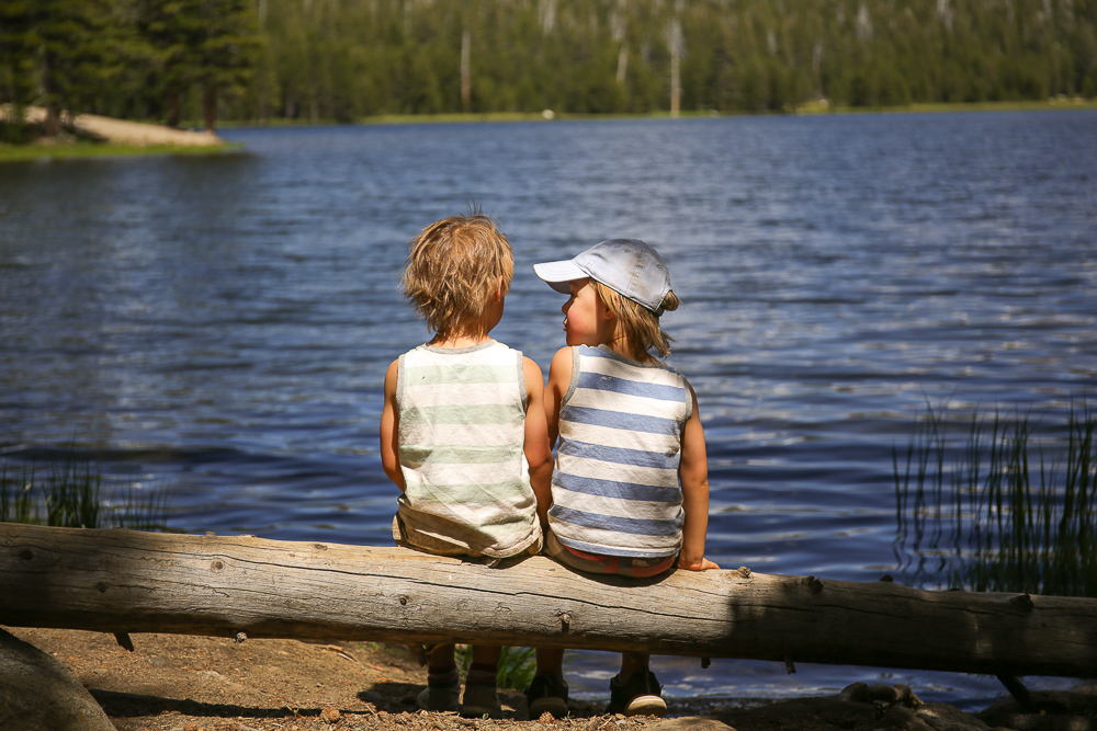 Two little boys sitting overlooking a lake Yosemite National Park