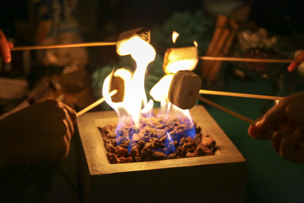 Toasting marshmallows over a backyard fire for smores