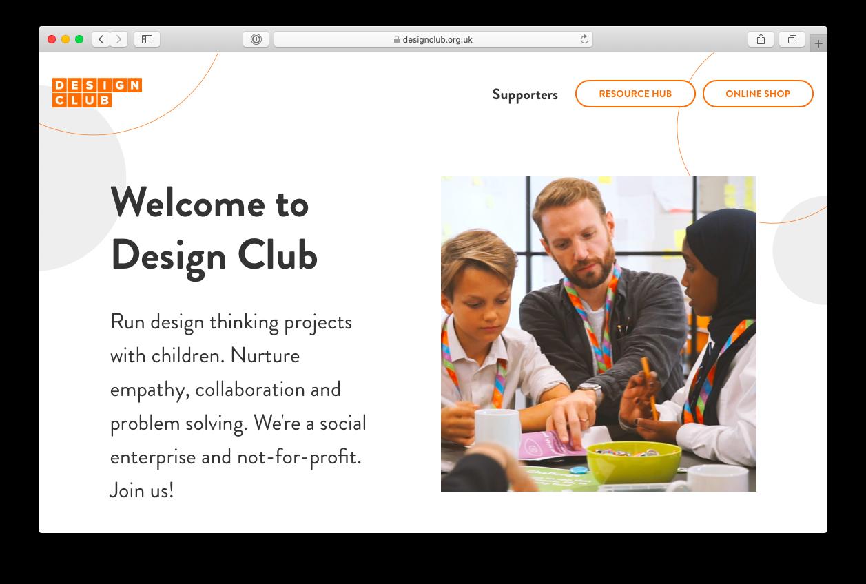 Design club website screenshot