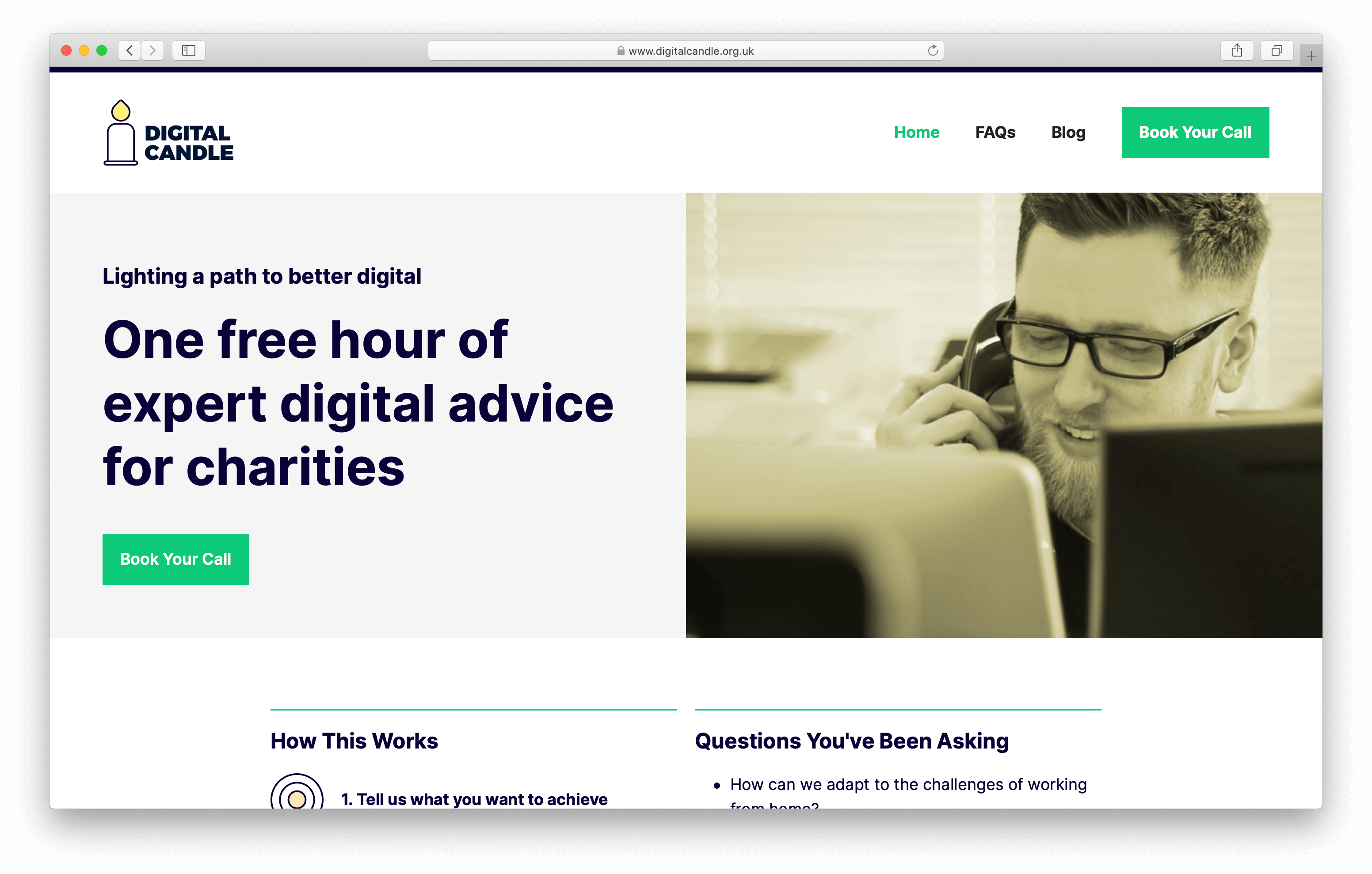 Digital candle website screenshot
