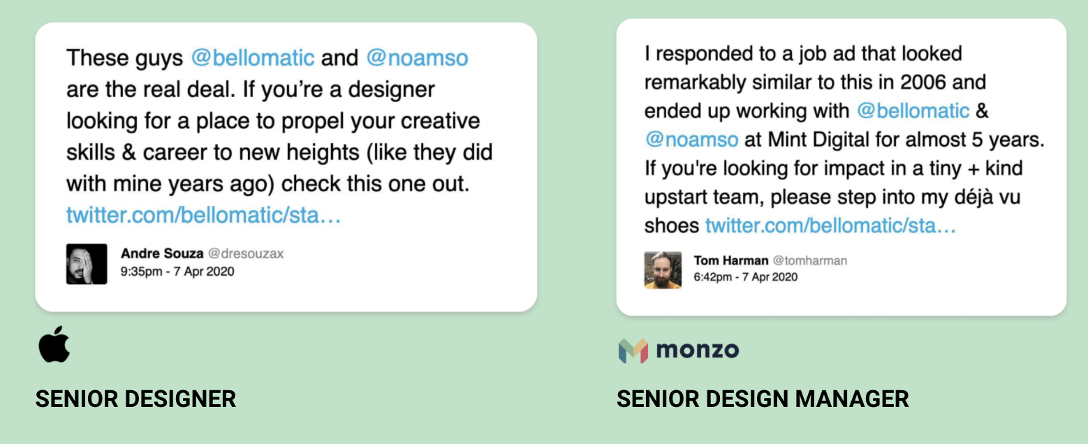 Tweets from designers we've previously employed