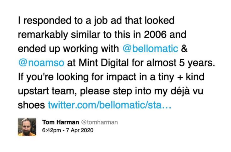 A tweet from a former employee