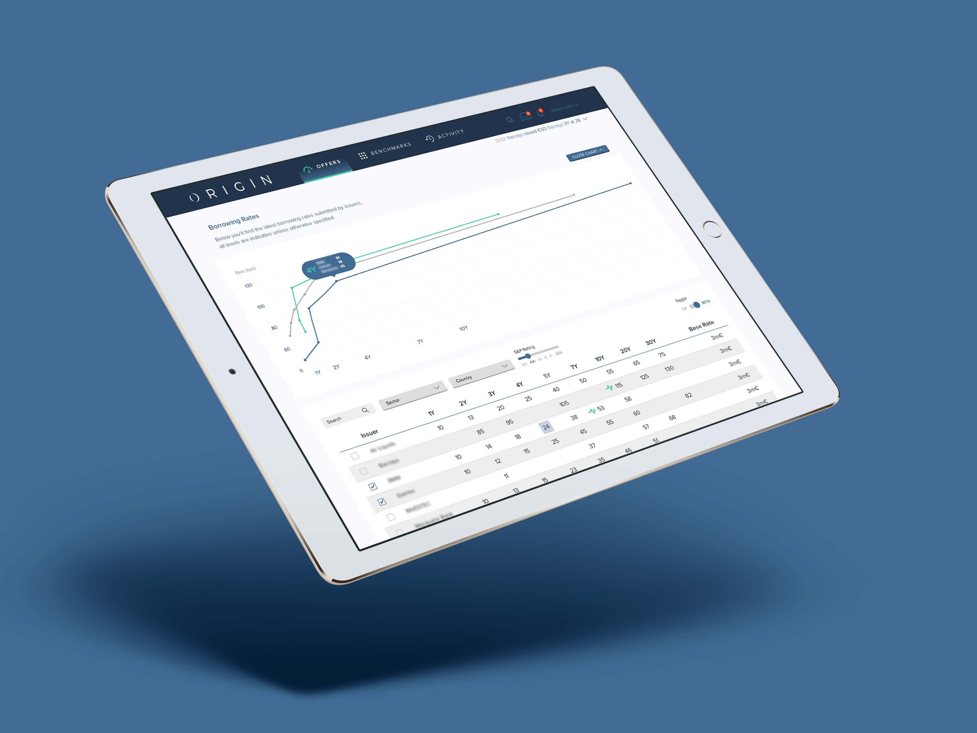 origin bond issuing platform ux ui design