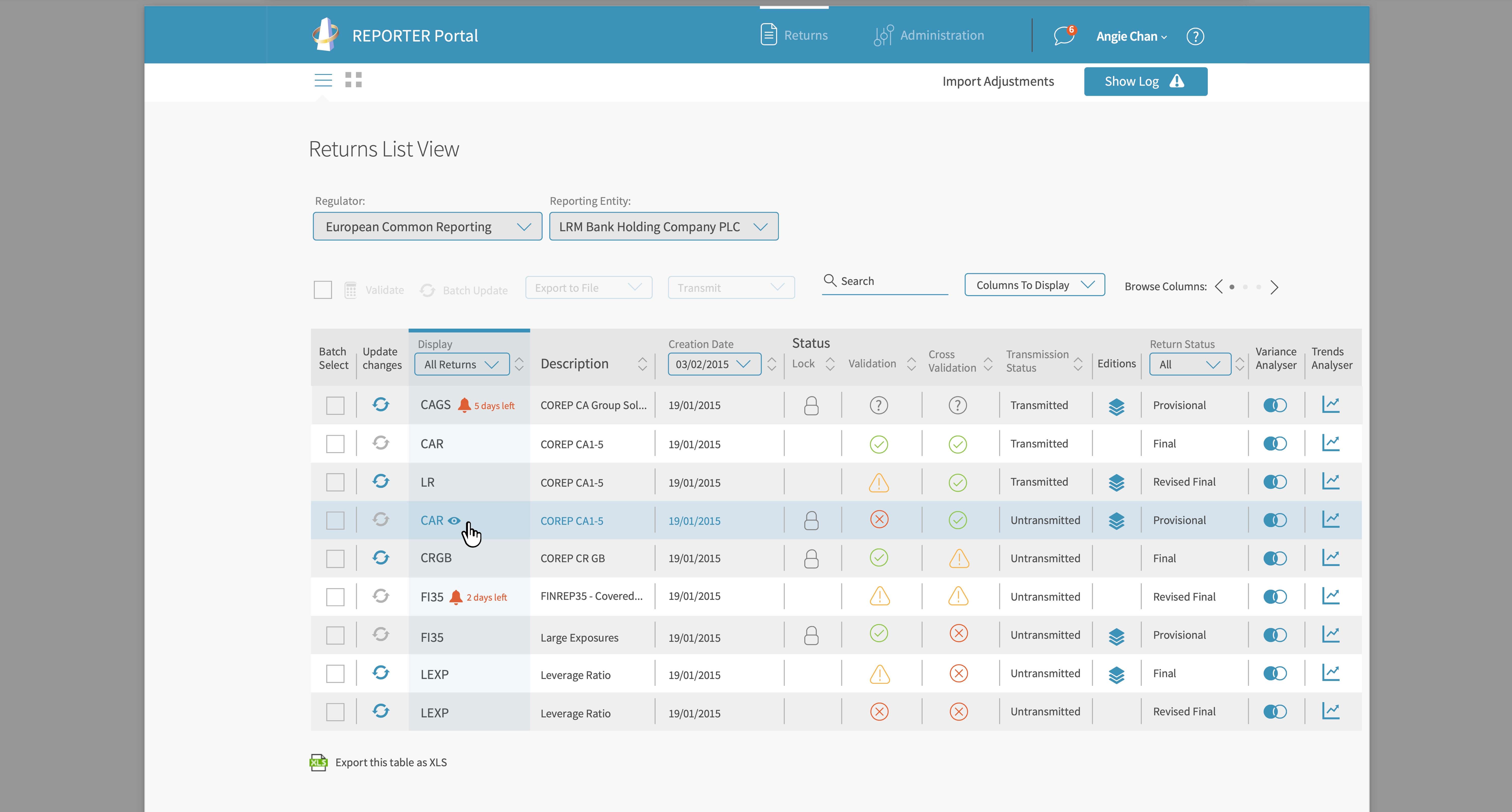regulatory reporting web app user experience design