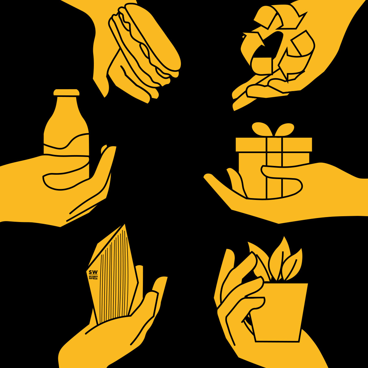 illustrated hands with different CSR activity symbols in each