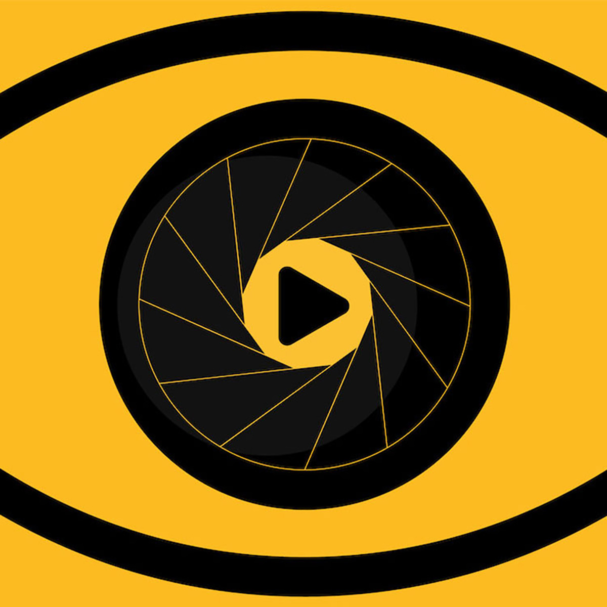 illustrated eye with play button in the iris