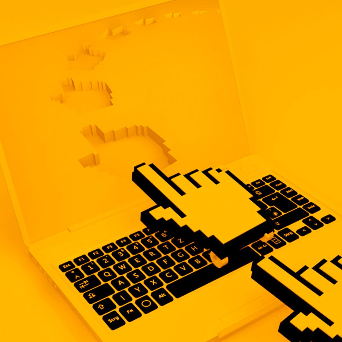 3d clicker footprints through laptop screen