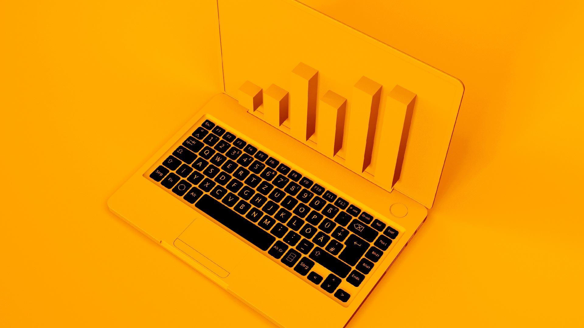 digital report on laptop in 3d