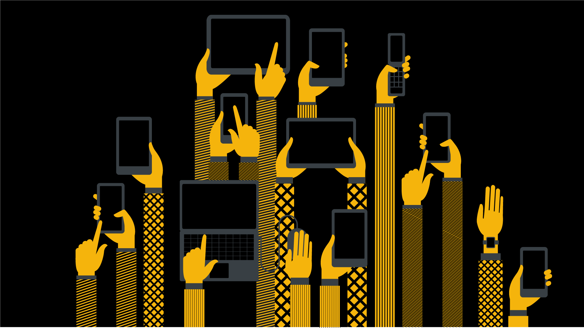image of hands using different technological devices