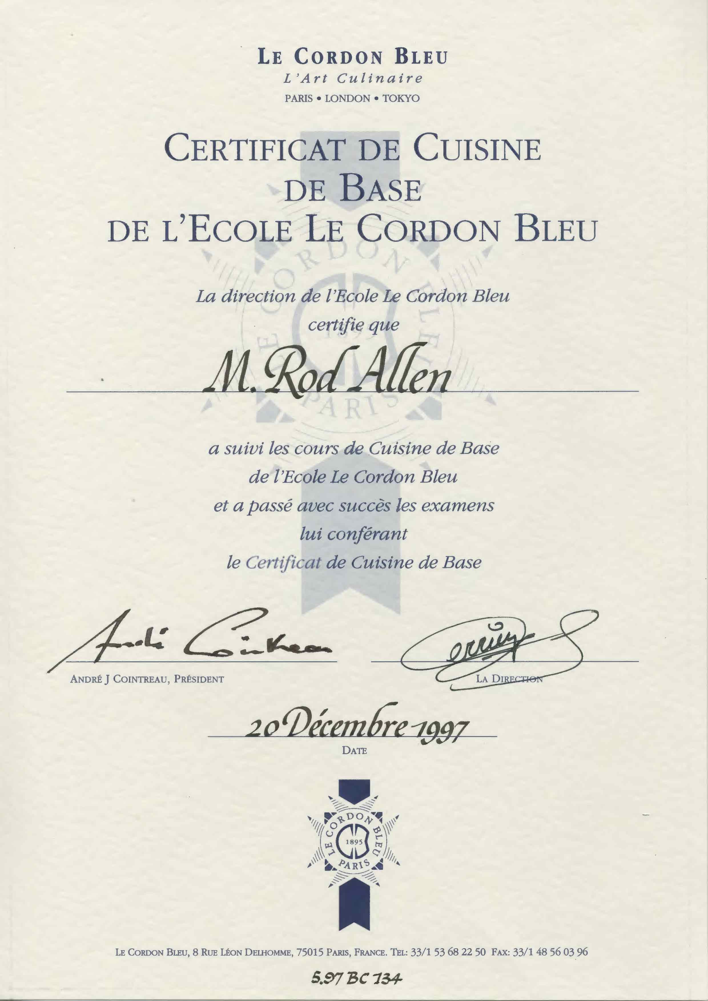 Dr Rod Cordon Bleu chef certificate