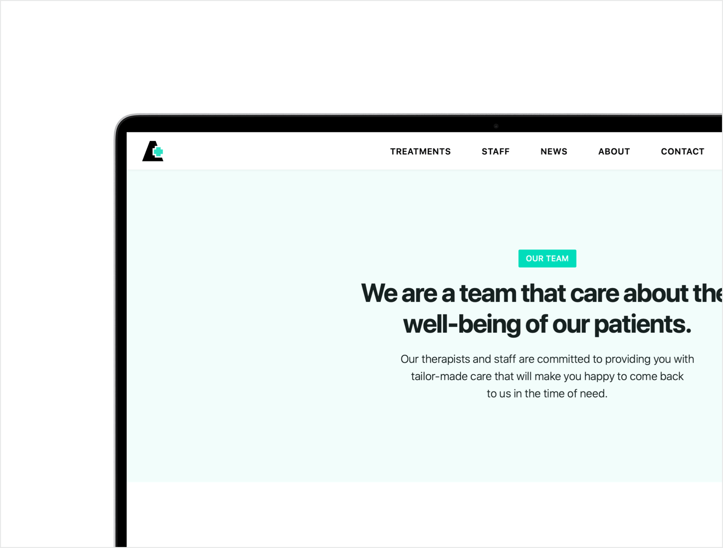 About page of healthcare website template on MacBook Pro